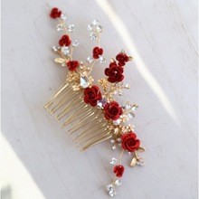 Jonnafe Red Rose Floral Headpiece For Women Prom Rhinestone Bridal Hair Comb Accessories Handmade Wedding Hair Jewelry