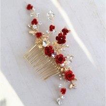 Jonnafe czerwona róża kwiatowy chluba dla kobiet Prom Rhinestone ślubny grzebień do włosów akcesoria Handmade biżuteria ślubna do włosów