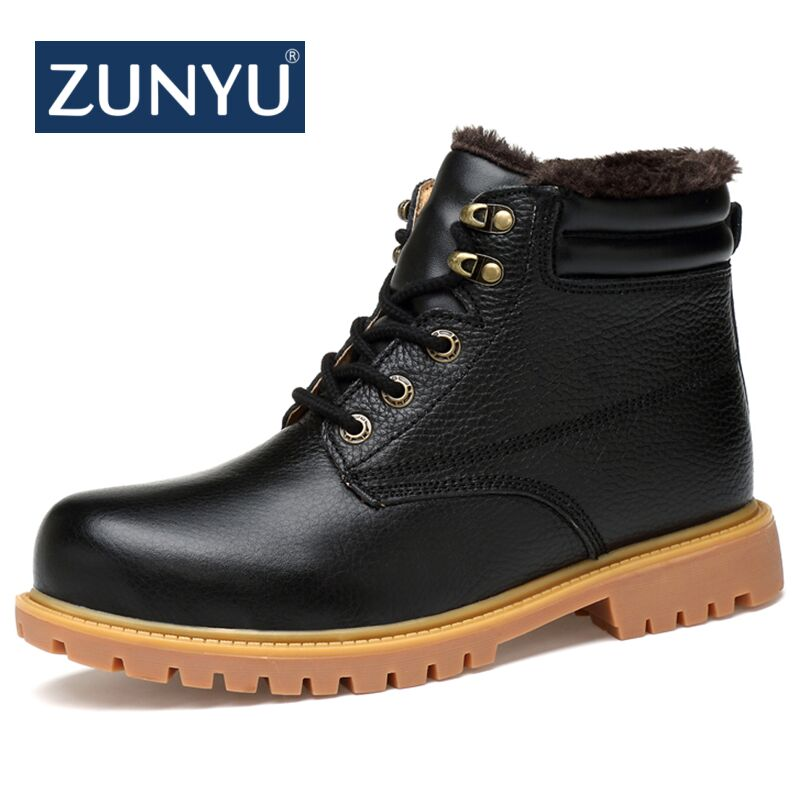 ZUNYU 2018 New Men Winter Boots Male Snow Ankle Boots Genuine Leather Warm Fur Casual Boot Shoes Chaussure Homme Plus Size 36~48 cimim brand new fashion genuine leather boots men ankle boots casual warm winter snow warm fur boots men shoes plus size 39 50