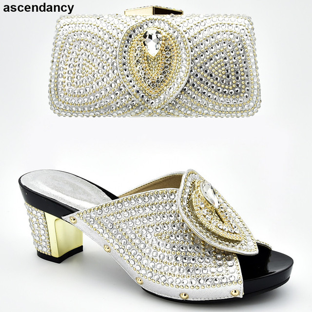 Italian Shoes with Matching Bags 2019 Shoe and Bag Set for Party In Women Nigerian Women Party Pumps with Purse Women High Heels