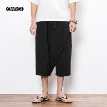 Летние мужские льняные хлопковые повседневные штаны в китайском стиле, мужские свободные короткие широкие брюки, панковские брюки