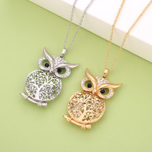 цена на Big Tree of Life Cartoon Owl Pendant Necklace for Women Statement Hollow Tree Crystal Inside Long Necklace Gold Fashion Jewelry