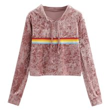 Hoodie Women 2018 Sweatshirts Long Sleeve Rainbow Stripe Sweatshirt Jumper Hooded Pullover Tops Velvet Sweatshirts(China)