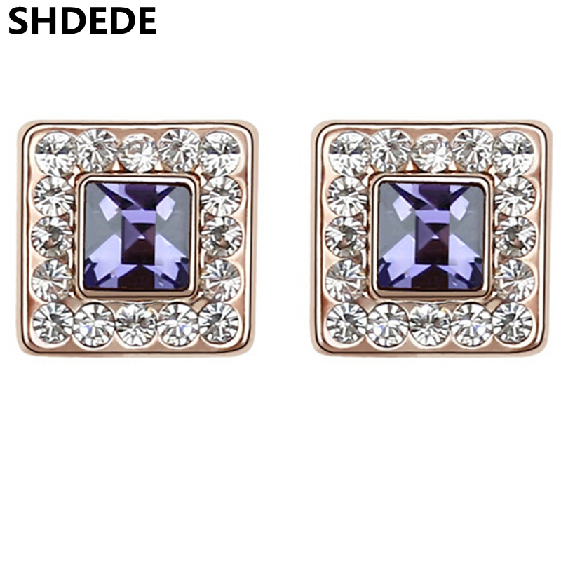 9ab8bd472 SHDEDE Crystal from Swarovski Stud Earrings For Women Fashion Jewelry  Classic Simple High Quality Female Square