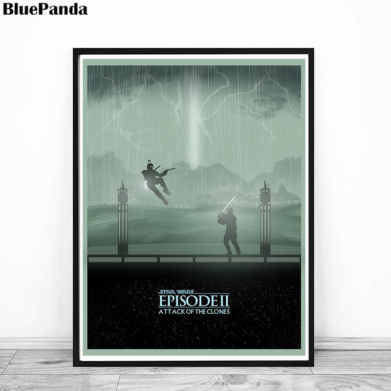 Star Wars Episode II Attack Of The Clones Minimalist Poster Painting On Canvas Bedroom Wall Art Decoration Pictures Home Decor image