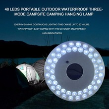 OUTADOUTAD 48 LED Portable Outdoor Camping Light UFO Tent Lamp Waterproof Night Hiking Lantern with Hanger Power By 4*AA Battery