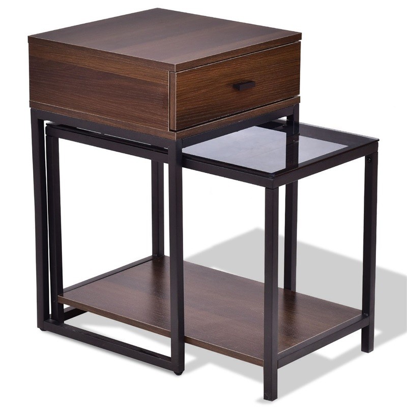 2 Pcs Metal Frame Wood Glass Top Nesting Side Table Minimalist Modern Living Room Furniture Set HW56083