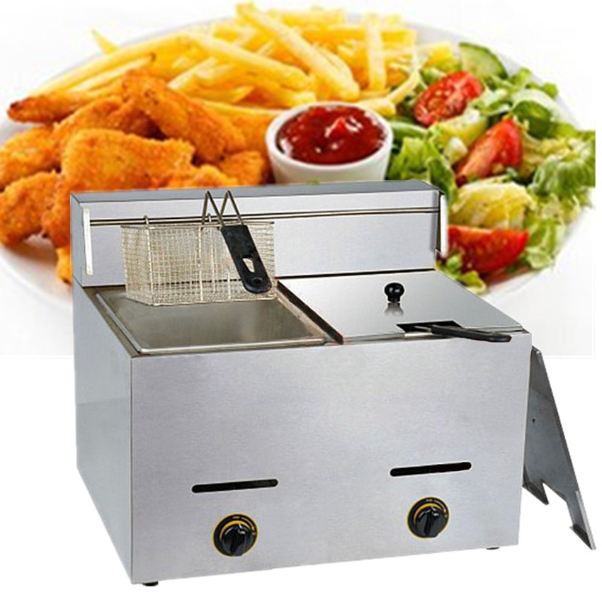 1PC 2016 Stainless Steel Gas Deep Double Fryer Mini Gas Fryer Potato Chip Fryer Machine Chicken Frying Machine цена и фото