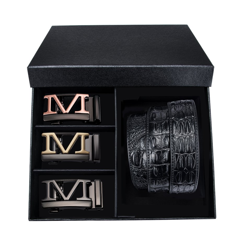 DUBULLE Fashion Men's Belts Black Solid Leather 3 Cool Automatic Buckles Gift Box Belt Men Promotion Wholesale