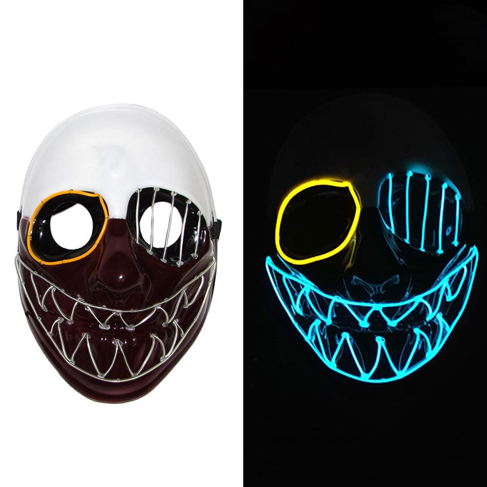 EL Wire Mask Flashing Cosplay LED Glow In Night Mask Skeleton Head Shaped Glowing Ghost Festival Halloween Carnival Costume Mask