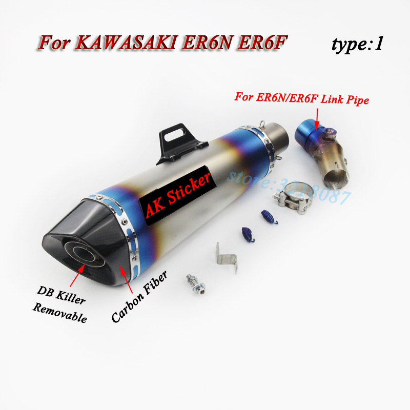 Slip On For Kawasaki ER6N ER6F Motorcycle Exhaust DB Killer Escape Motor Modified Muffler Laser Middle Link Pipe Whole Set
