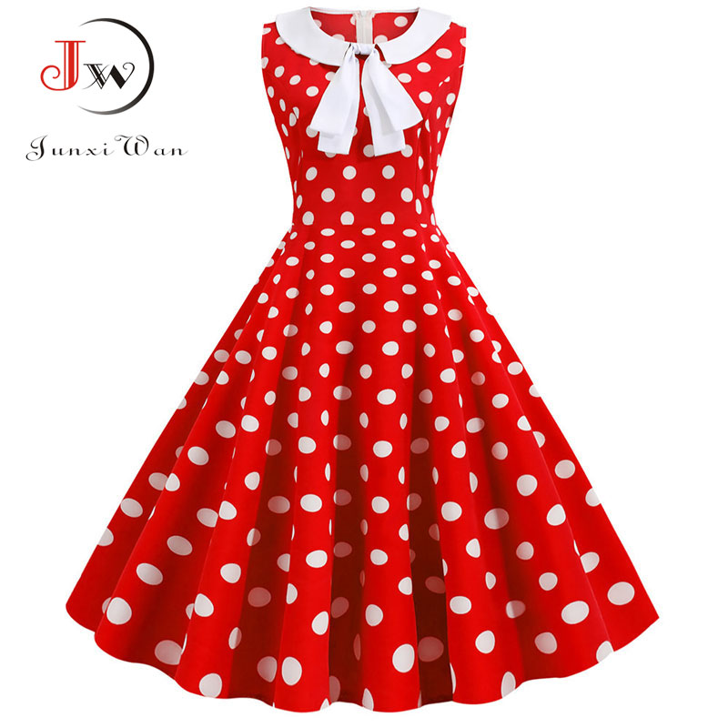 Peter Pan Collar Polka Dot Vintage Dress Women 2019 Summer Casual Bow Retro Elegant Party Office Dresses Vestidos Robe Plus Size