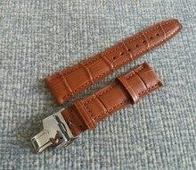 22mm 100% de cuero marrón Genuino correa de reloj con hebilla de mariposa de acero Inoxidable 316L 2017 nueva moda 18a
