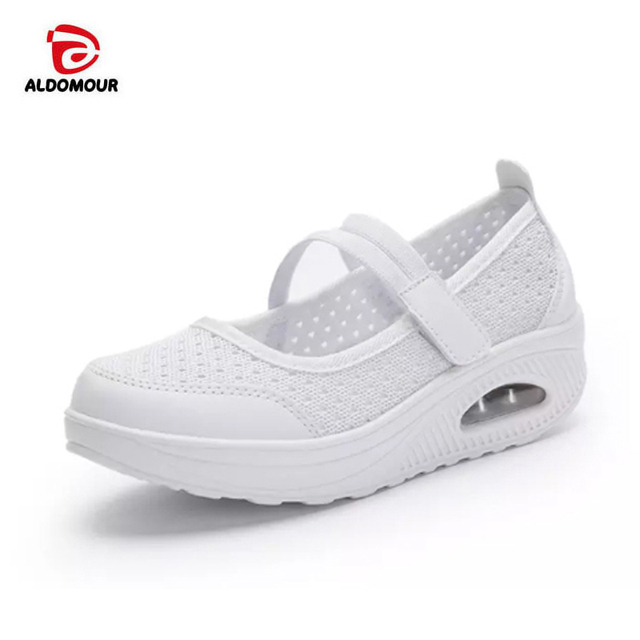 ALDOMOUR Women Toning Shoes Thick Soles Height Increased Breathable Wedges  Swing Sneakers 2018 New Autumn Slmming 1bc69d8d7a79