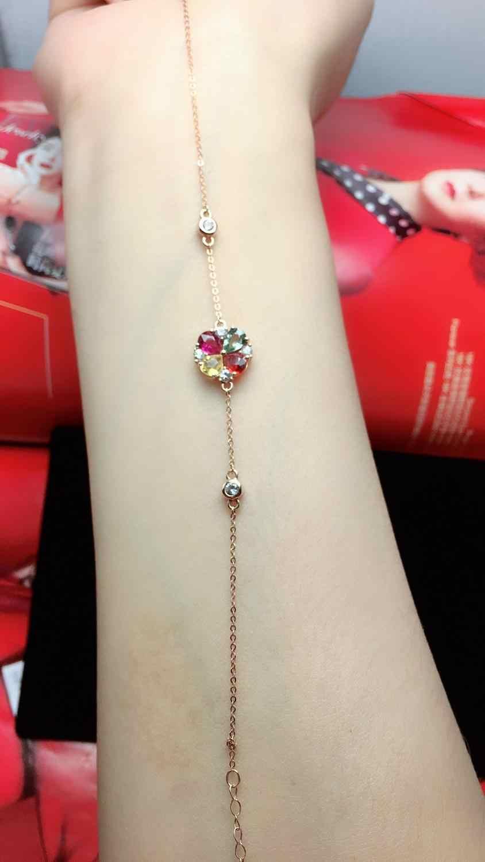Fine Jewelry Real 18 K AU750 G18K 100% 1.6ct Natural Rubi Safira Ouro Jóias Pulseiras para as mulheres Pulseira Fina