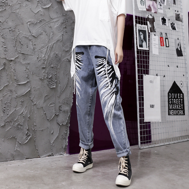 Women High Waist Print Jeans Feamel Streetwear Hip Hop Harem Denim Pants Fashion Boyfriend Jeans for Women Plus Size S-2XL