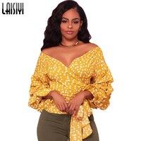 LAISIYI Sexy Yellow Polka Dot Blouse Shirt Women Elegant Lantern Sleeve Blusas Slim Boho Autumn Fashion