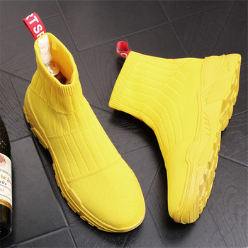 Mens Yellow Casual Comfort Shoes High Top Socks Shoes Man Breathable Short Boots Fashion Ankle Boots 2#10/20D50