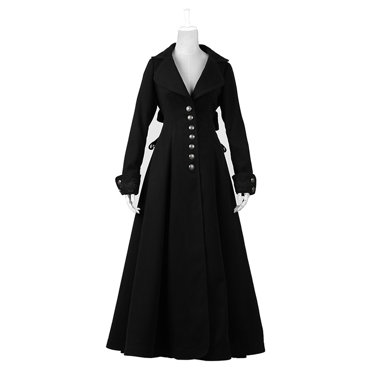 Gothic Winter Dark Angel Chiristmas Women Long Flare Trench Coat Punk Black Single Breasted Oversized Winter Slim Coat