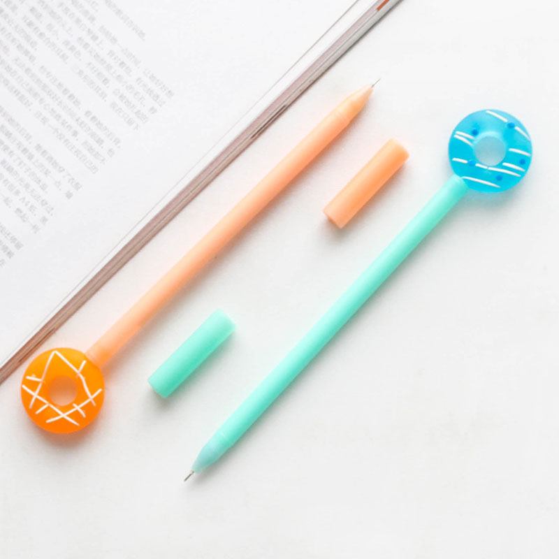 30 pcs Lot Sweety donuts gel pen 0 5mm Black color ink pens Stationery item gift Office School supplies Caneta escolar FB877 in Ballpoint Pens from Office School Supplies