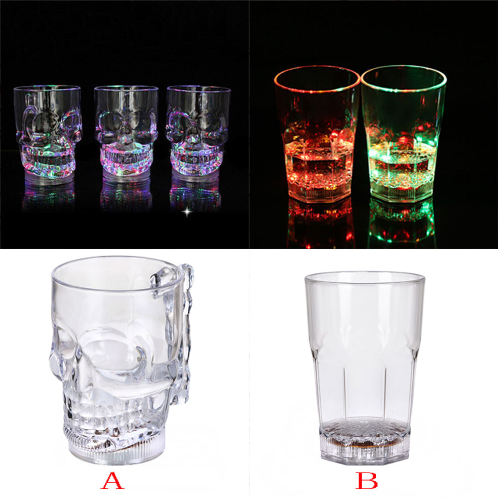 LED Inductive Rainbow Color Flashing Light Glow Mugs Glass Party Beer Cup Creative Gift Kitchen Tool Bar Drinkware w0703