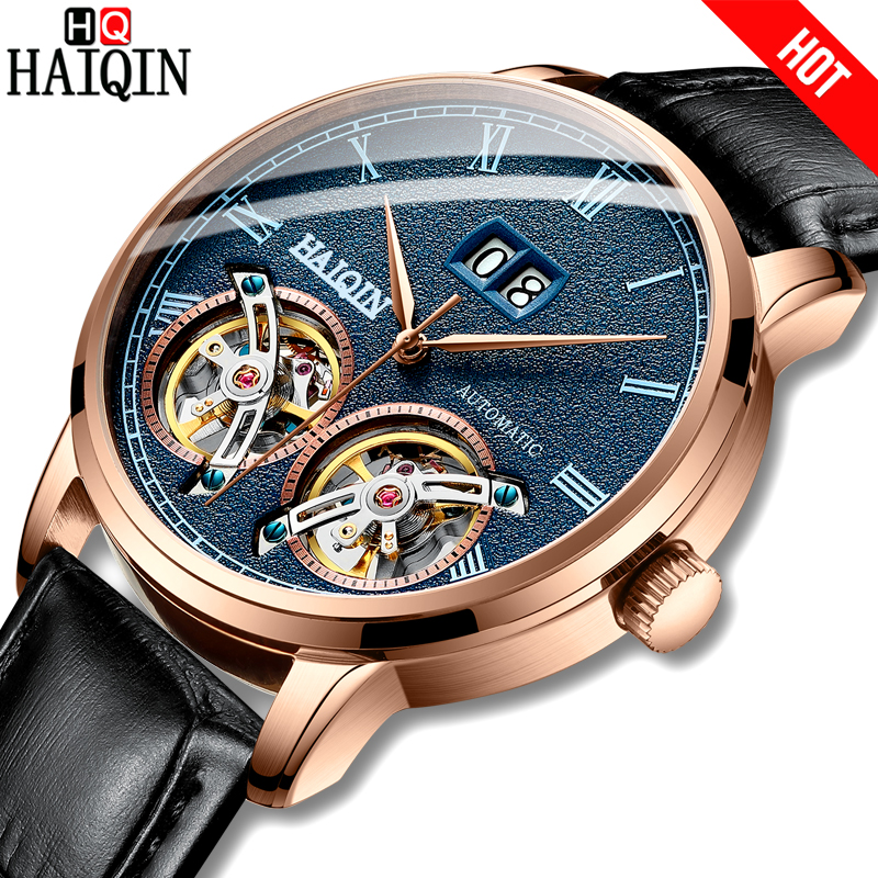 HAIQIN New Casual Mechanical Men Watch 50m Waterproof Military Watch men Tourbillon Sports Leather Male Wristwatch Reloj hombresHAIQIN New Casual Mechanical Men Watch 50m Waterproof Military Watch men Tourbillon Sports Leather Male Wristwatch Reloj hombres