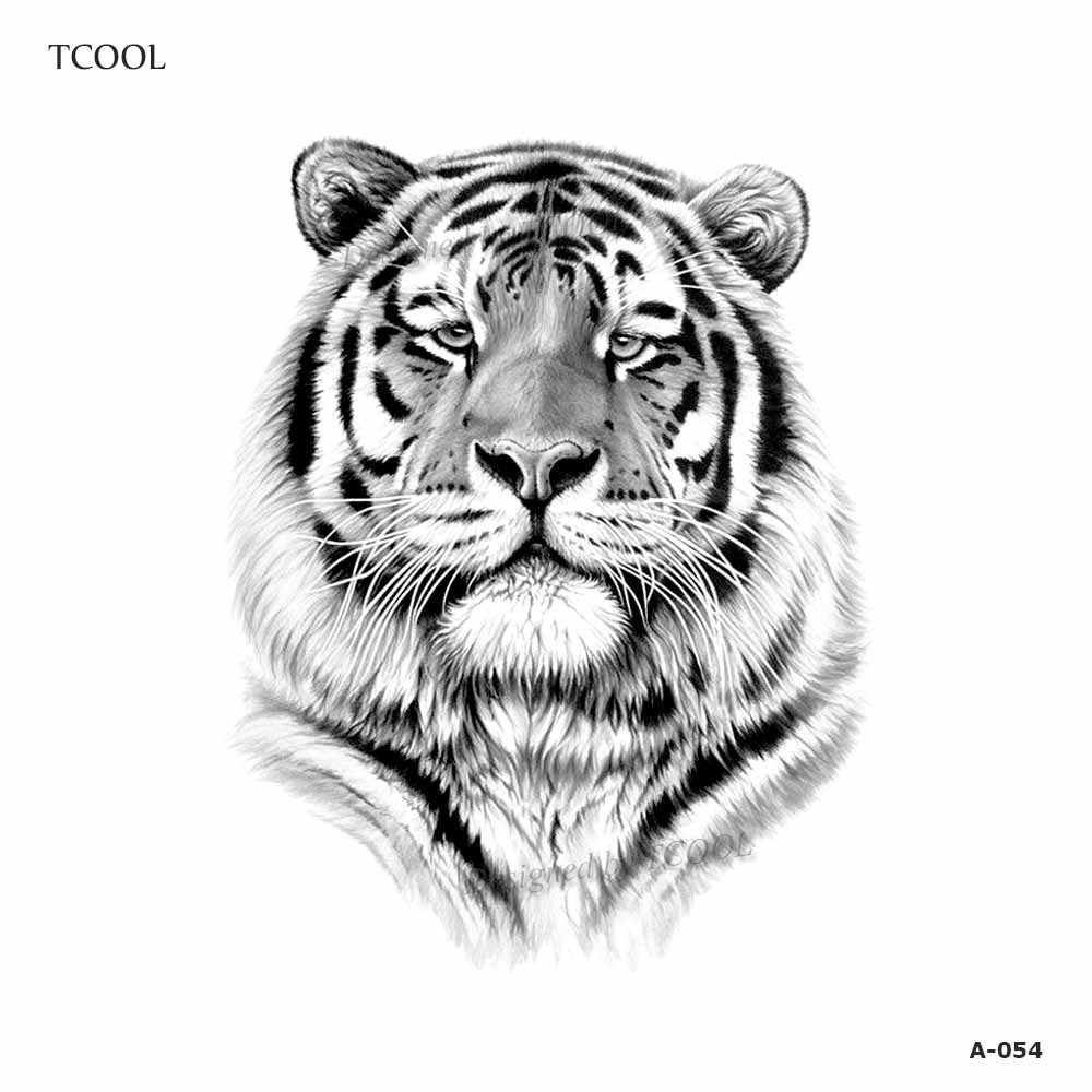 HXMAN Tiger Women Temporary Tattoo Sticker Waterproof Fashion Fake Body Art Animal Tattoos 9.8X6cm Kids Hand Tatoo A-054