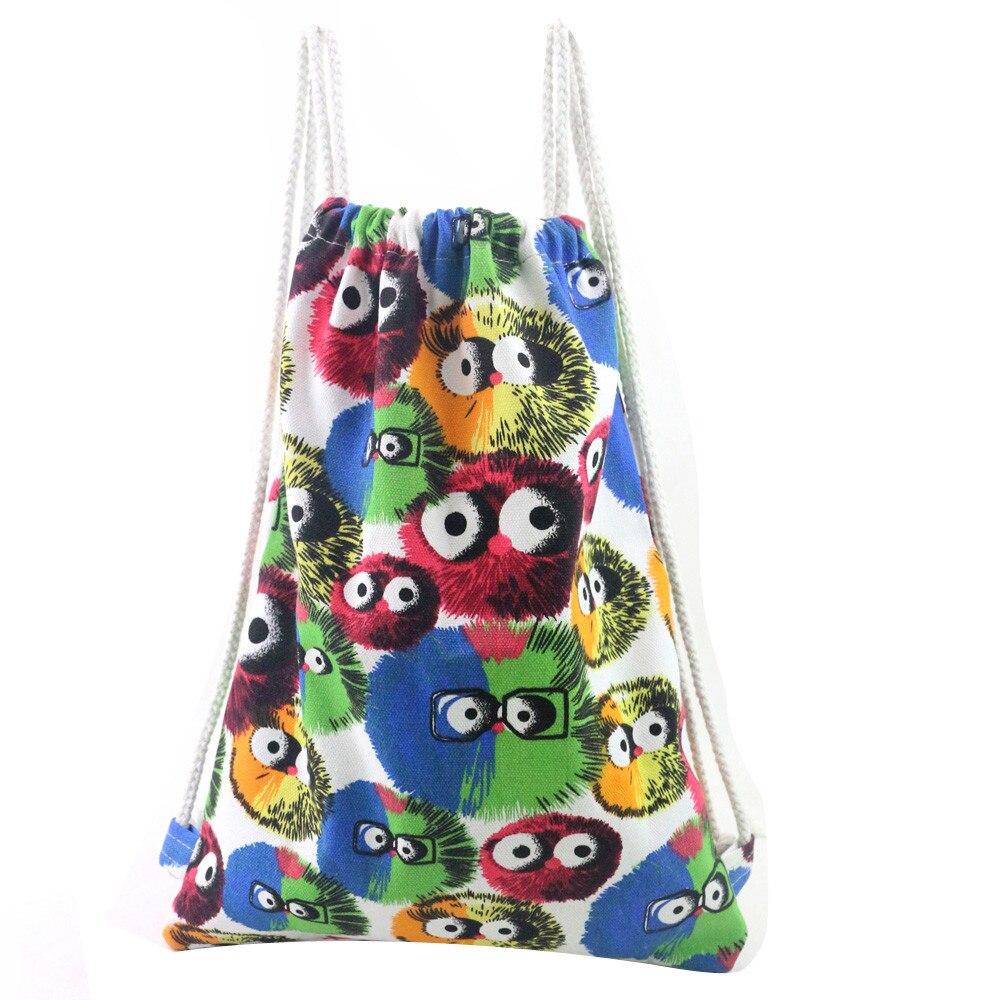 Drawstring Backpack Unisex Owl Print Backpacks Printing Bags Bolsos De Lona