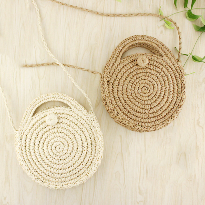 1PC Bohemian Round Straw Handmade Crossbody Coin Bag Girls Circle Rattan Bag Small Bag Beach Bag Summer Mini Vintage