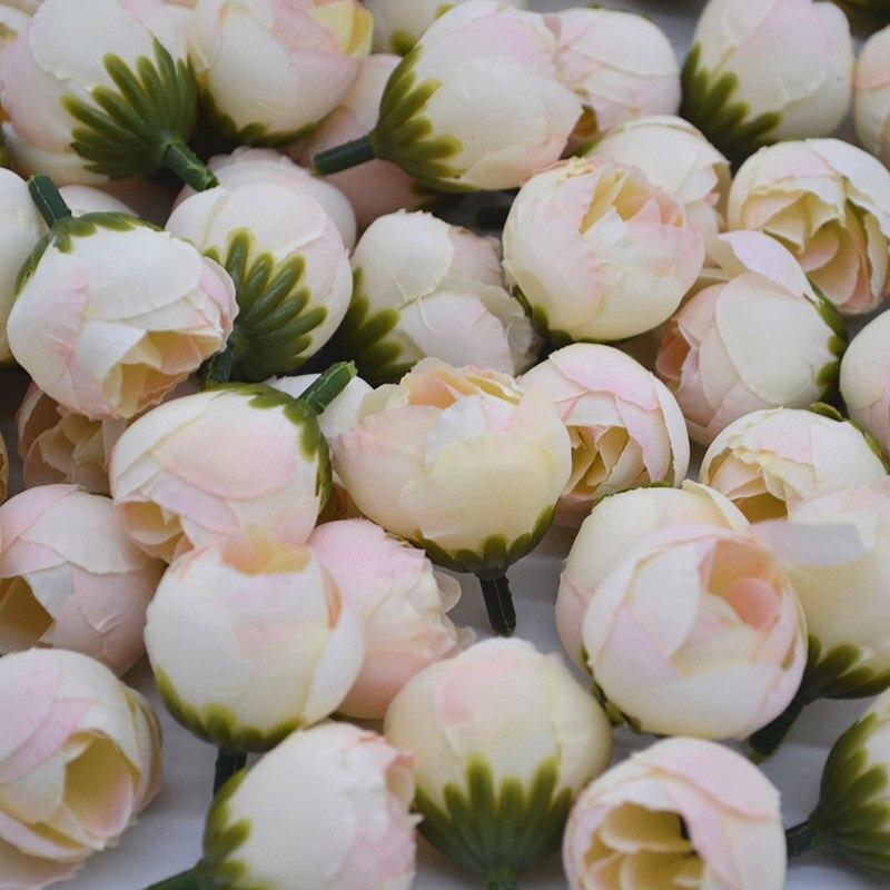 20/30 pièces 2cm artificielle Rose bourgeon petite soie fleur thé bourgeon tête pour mariage maison fête décoration bricolage couronne Scrapbooking artisanat