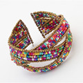 bohemian amorous feelings beaded bracelets colourful bangles long 4cm wide 7cm weight 39.2g 3 layers twine bangles