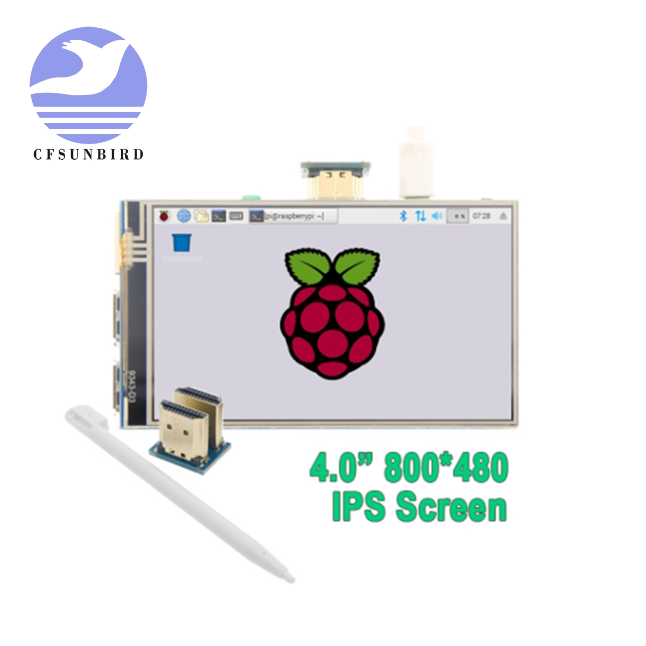 "4.0"" Inch HDMI IPS LCD Monitor Screen Module Display with GPIO Resistive Touch Panel Audio Output for Raspberry Pi 4LCD Modules   -"