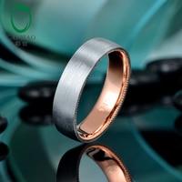 CaiMao Solid 14k Rose & White Gold Satin Finished Milgrain Wedding Band for Mens