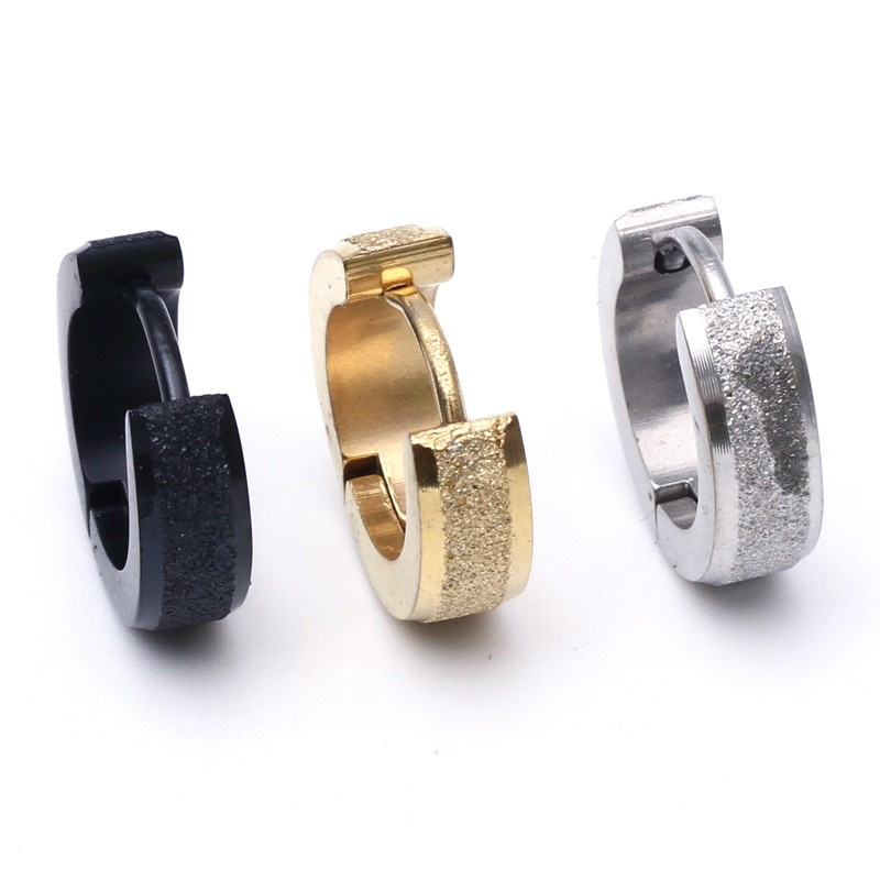 2pcs New Gold Silver black Dull Polished Stainless Steel Stud ...