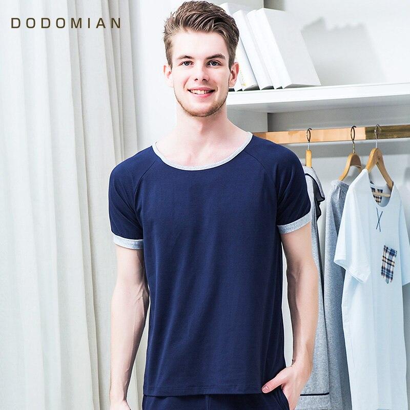 2017 Summer Men Pajamas Sets Sleepwear Solid Casual Tops+Shorts For Men Short Sleeve MenS Home Wear Nightwear Cotton Suits