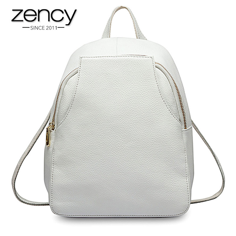 Zency New Arrival Women Backpack 100 Genuine Leather Ladies Travel Bags Preppy Style Schoolbags For Girls