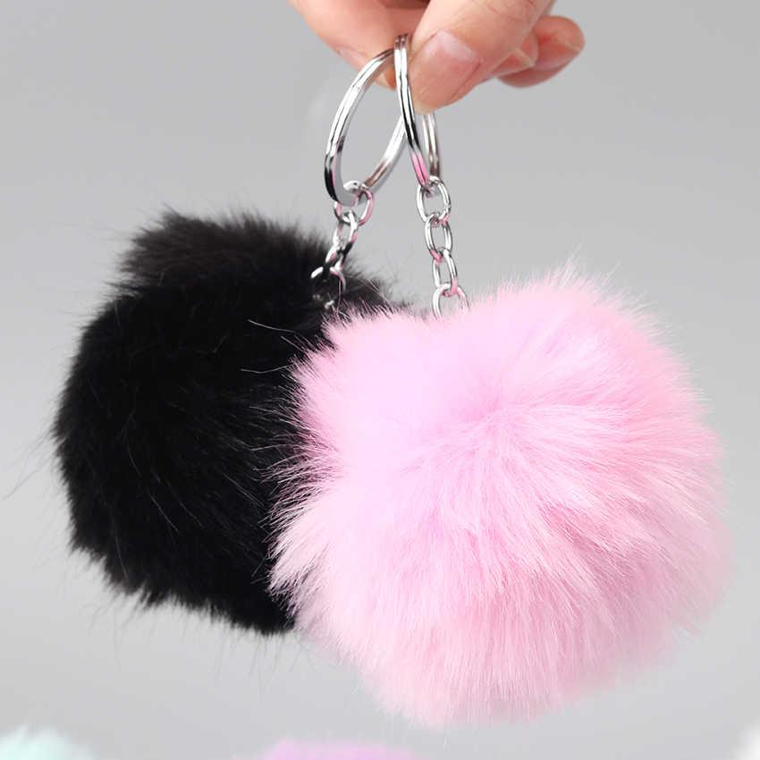 1 pc Adorável Fluffy Bola De Pêlo Pompom Mulheres Keychain Chave Anéis Da Cadeia Pingente Bonito Hairball Artificial Carro Ornamentos Acessórios do Saco