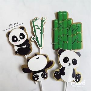 Image 5 - Adornos para pastel de Panda Ins, decoración de hoja de tortuga de bambú, feliz cumpleaños para niños, suministros de fiesta para niños y niñas, regalos bonitos para hornear