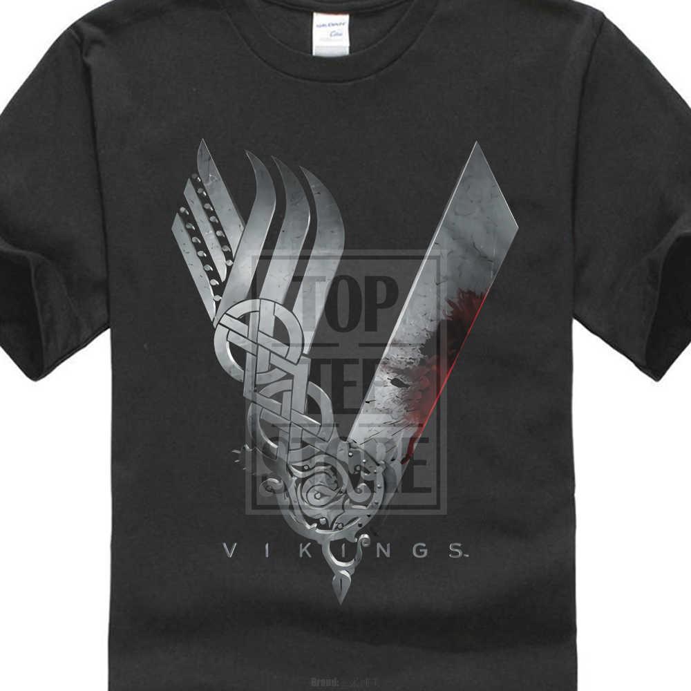 a714f6f1 Vikings Logo T Shirt Ragnar Lothbrok History Myth Tv Show Mens Black ...