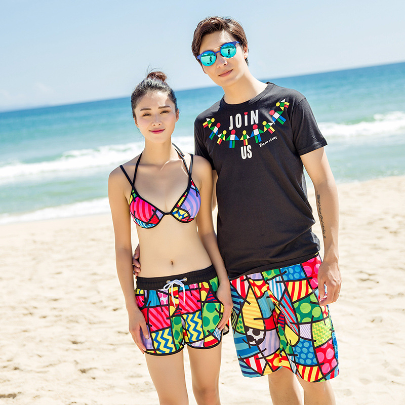 Lovers   Board     Shorts   Beach Swimwear Sexy Bikinis 2018 Men Women   Board     Short   Women Bikini Sets Quick-drying Swim   Shorts   Swimsuit