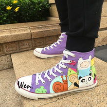 Wen Design Custom Hand Painted Shoes Adventure Time Men Women's High Top Canvas Sneakers Gifts for Boys Girls