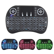 Mini I8 wireless keyboard air mouse flying squirrel 2.4G with touchpad tri-color backlight-Russian, Spanish,English Optional