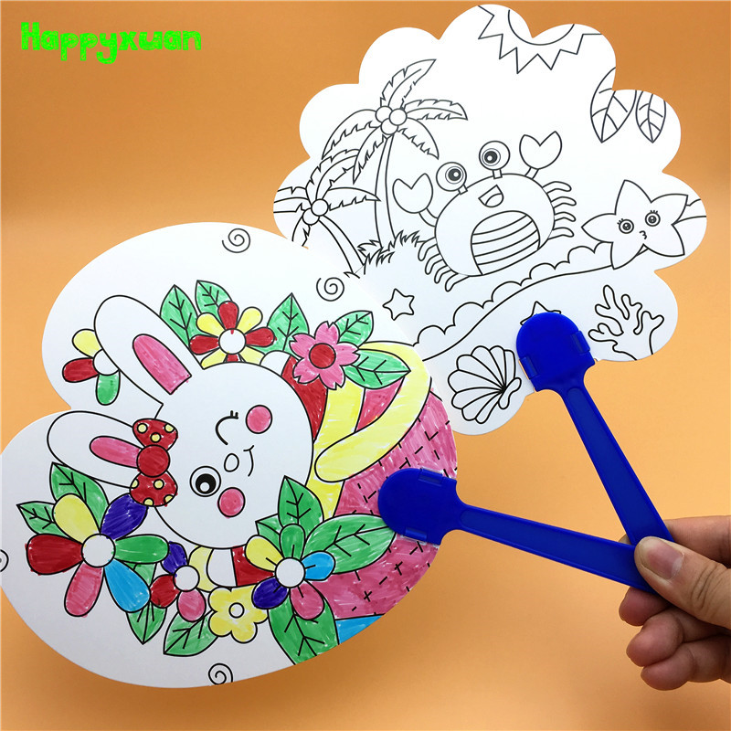 Happyxuan 8pcs/lot Kids Hand Paint Fan Coloring Pictures DIY Craft Project Creative Drawing Toys Children Kindergarten Education