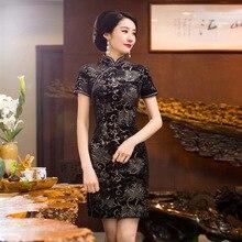 Spring Dress short sleeve Cheongsam elegant formal dress Mini Evening Dress Top quality chi-pao vestidos Tang suit