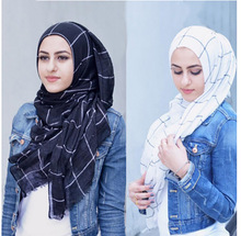클래식 Plaids 타탄 면화 Voile 이슬람 Hijab 스카프 숙녀 긴 크로스 줄무늬 더블 컬러 이슬람 Hijabs 목도리 랩 스카프