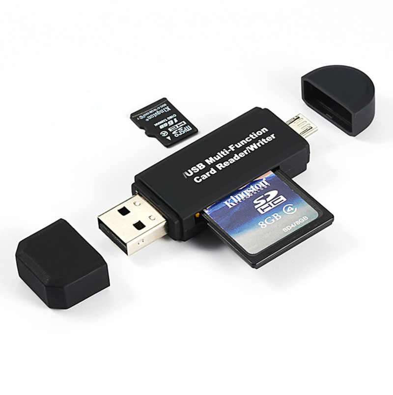 2 In 1 USB OTG Card Reader Flash Drive High-Speed USB2.0 Universal OTG TF/Kartu SD untuk ponsel Android Ekstensi Komputer Header