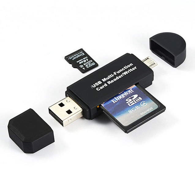 2 In 1 USB OTG Card Reader Flash Drive High-speed USB2.0 Universal OTG TF/SD Card for Android phone Computer Extension Headers 1