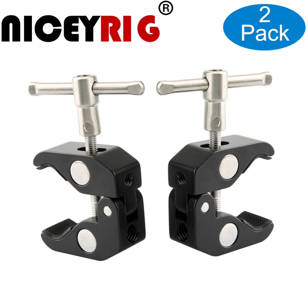 цена на NICEYRIG Magic Arm Clamp 1/4 Screw Head Ball Adjustable Bracket for LED Video Light EVF Monitors Camera Studio (2 Pieces/ Pack)