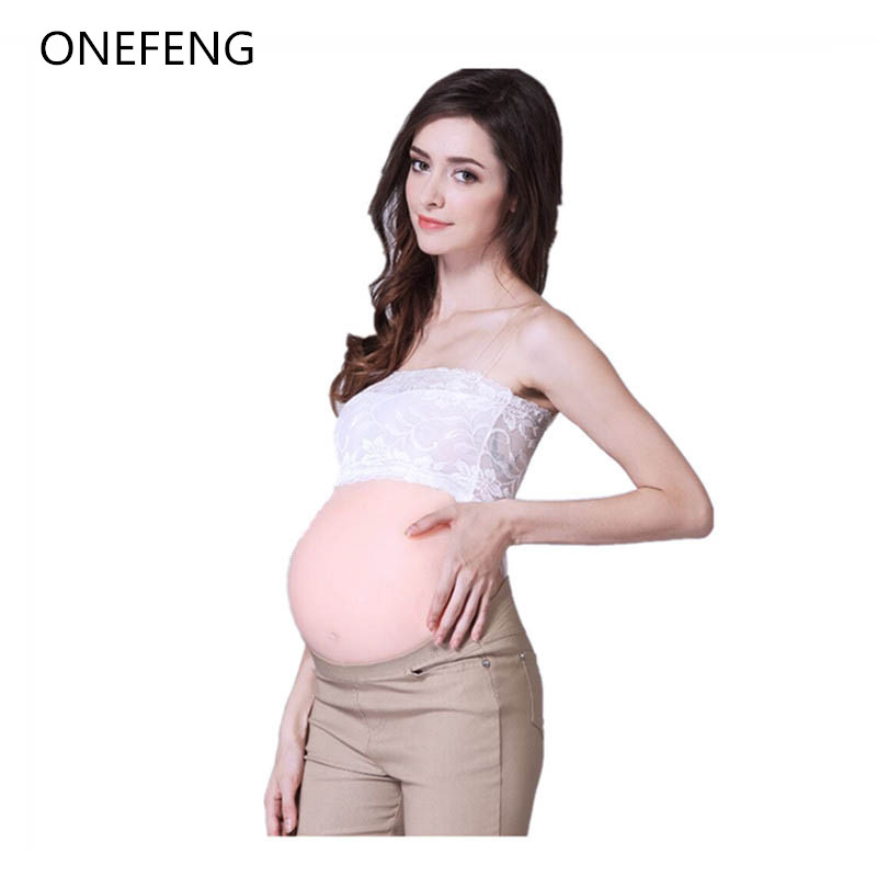 ONEFENG Fake Pregnant Belly 2000 3000g/pc Skin Adhesive Backside Silicone Stomach for Unisex