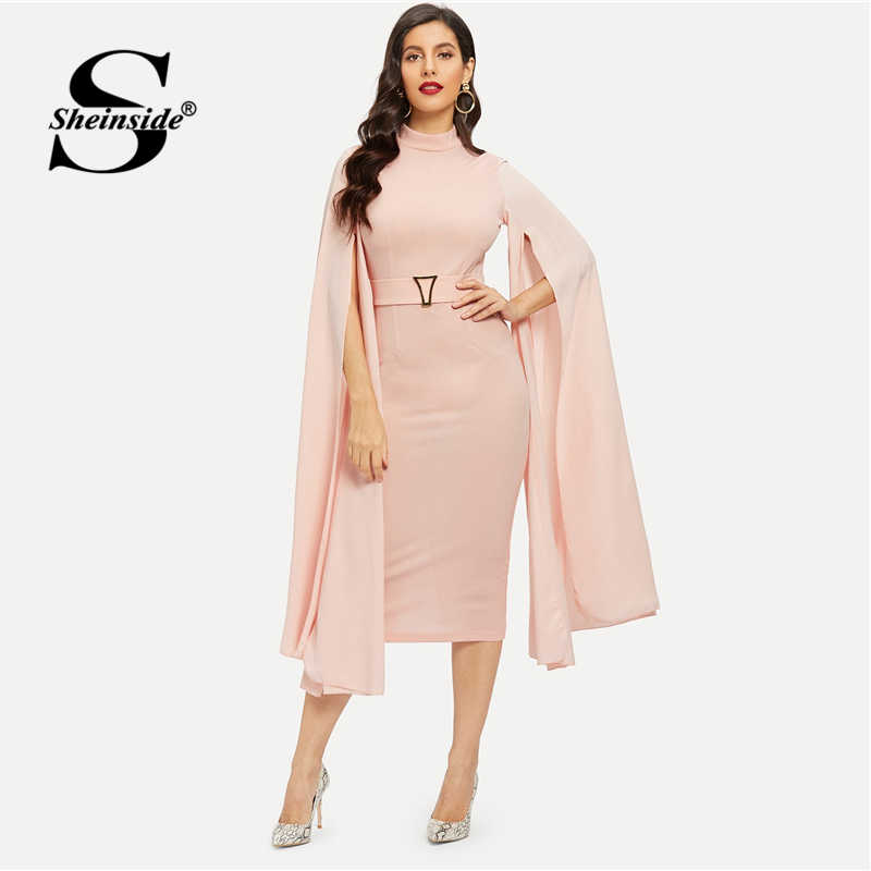 Sheinside Pink Elegant Split Sleeve Belted Party Dress Women 2019 Spring Solid Pencil Dresses Casual Stand Collar Midi Dress